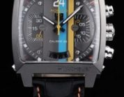 top quality tag heuer monaco replica steel black leather watch