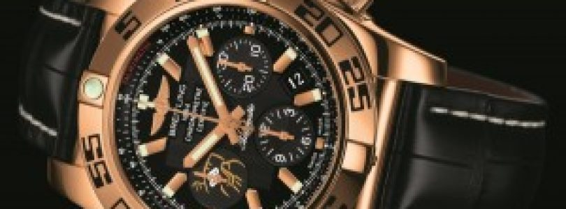 Replica breitling chronomat gmt wayne gretzky limited edition 44mm black dial rose gold watch