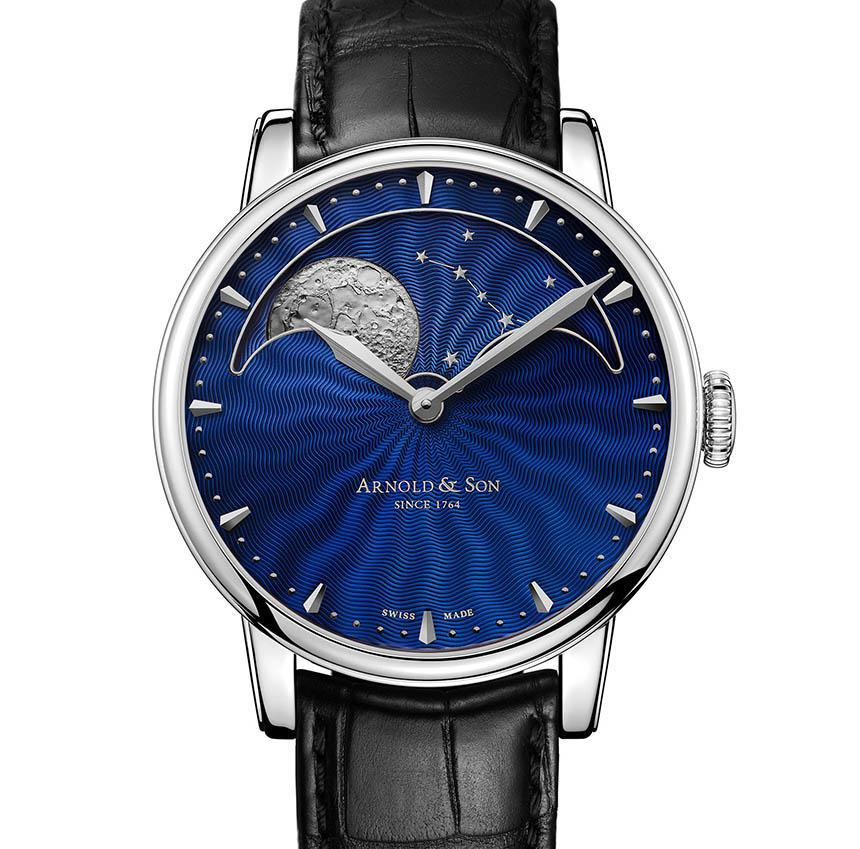 Arnold & Son HM Perpetual Moon Stainless Steel Watch With Blue Guilloche Dial Watch Releases